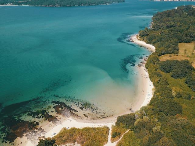 Boa y sus playas. Ría de Noia. Hay todo un paseo hasta la playa Testal.