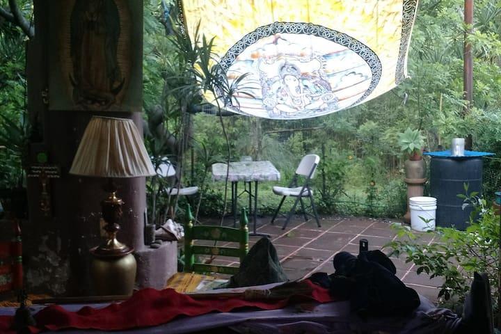 Esta es una parte de mi terraza en donde podrías tomar alguna bebida y un lunch sano y ligero mientras escuchas a los pajaritos o sientes la suave caricia del viento o simplemente gozas del sonido  silvestres y su verdor, su aroma.