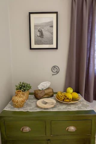 Fresh fruit and stunning art in each room