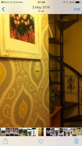 Stairway to twin room