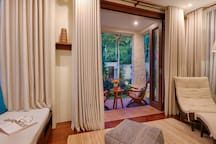 Chill-out Rooms: Extension suites to Bedroom 4 - Mountain views from the balcony with day beds.