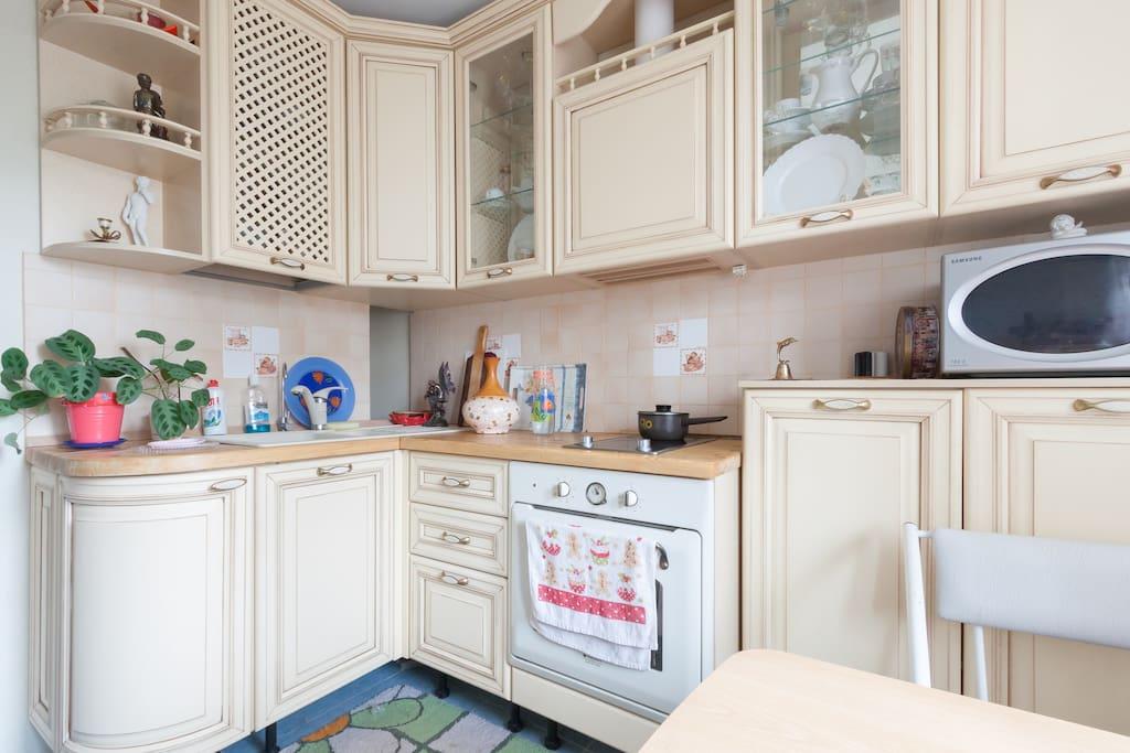 Итальянская кухня со всей посудой, микроволновкой, духовой шкаф