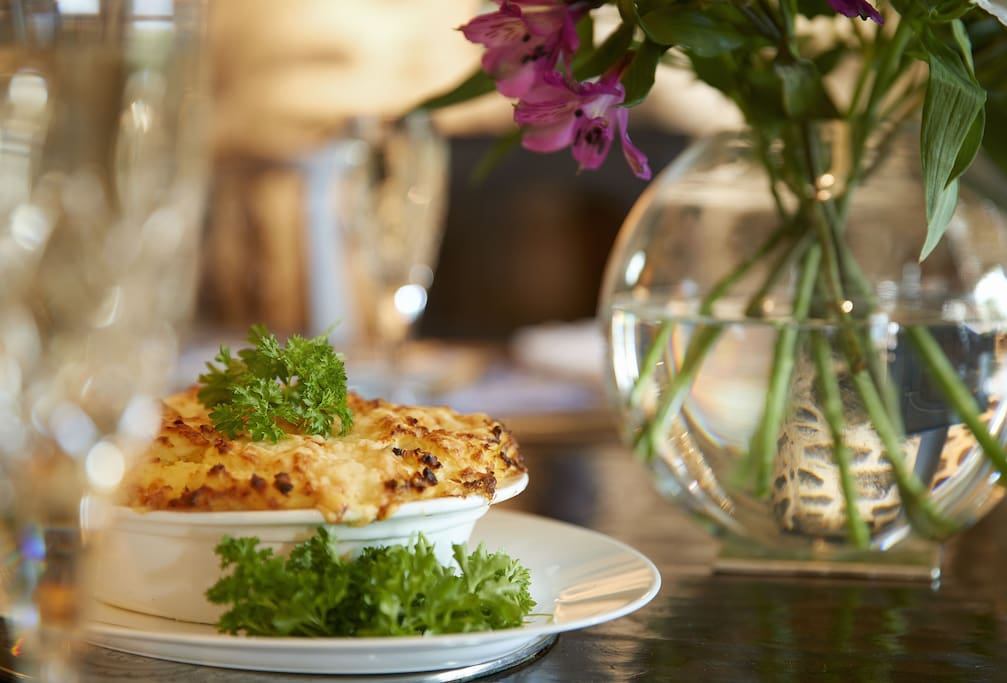 A delicious fish pie will be waiting for you on your arrival