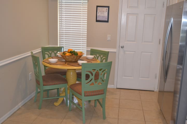 Seating for four in the kitchen for a quick meal