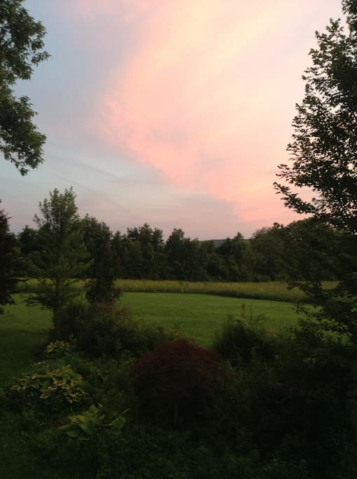 View of the sunset from the back deck