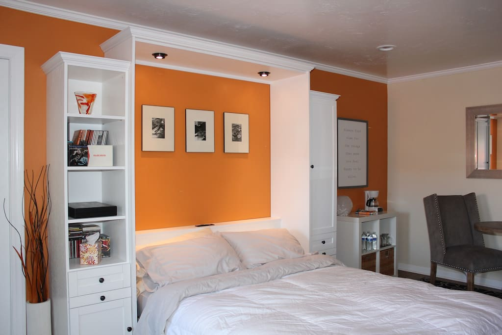 Brand new comfy queen size wall bed.
