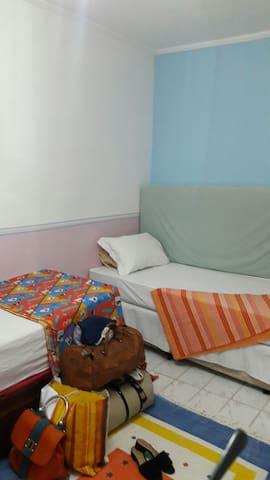 Duas camas de solteiro e um colchão avulso