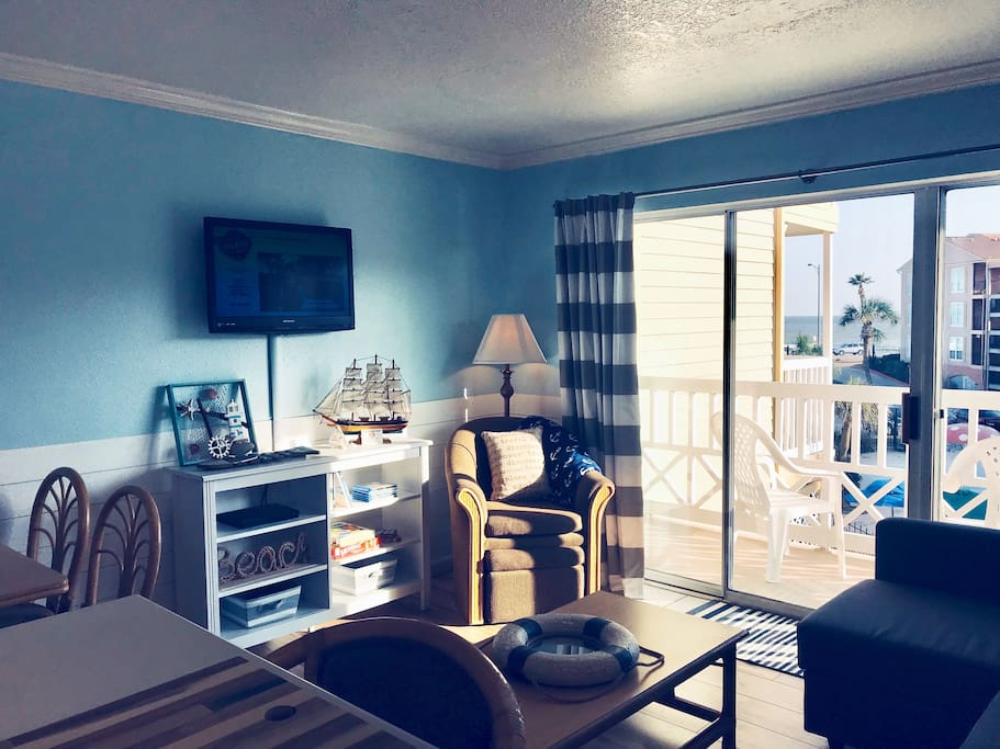 This is our Galveston beach condo with ocean and pool view!