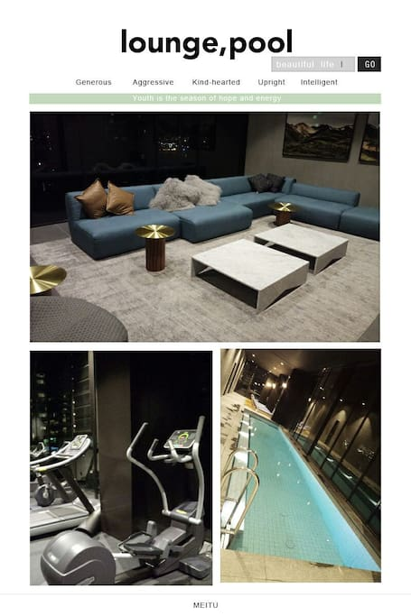 pool,gym,lounge