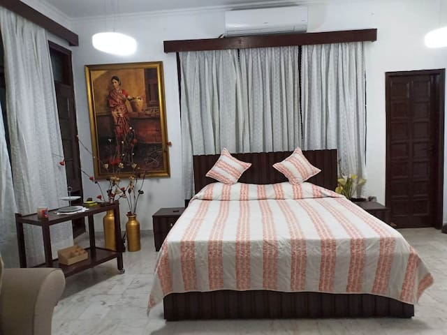 Double Bed with Bedsheet, Bedcover and Pillows - with side tables