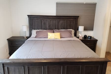 Spacious, private, and secure Master bed near all!