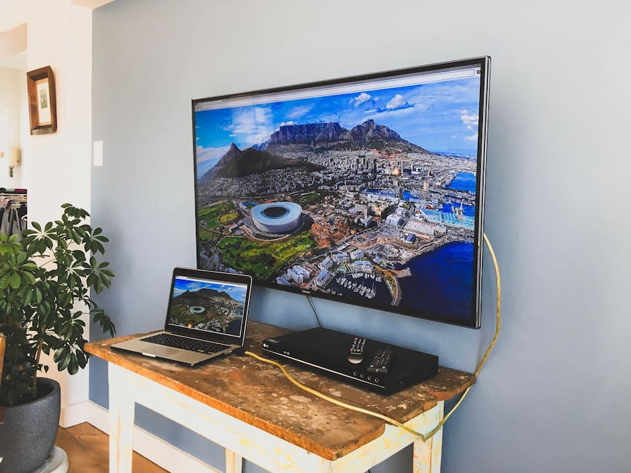 Samsung Smart TV with DVD player and HDMI cable to link your laptop