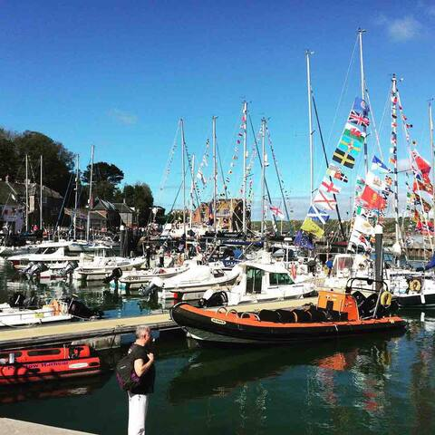 Padstow harbour looking beautiful for May Day.