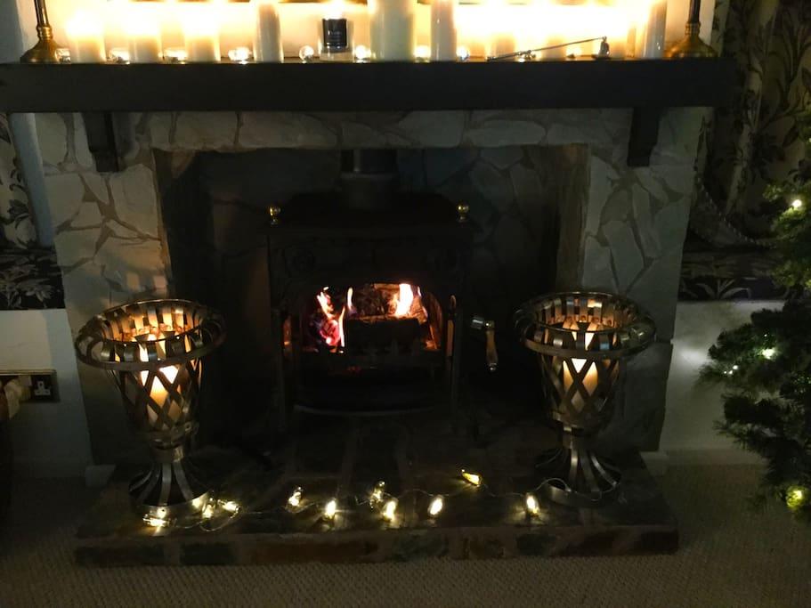 Wood burning Stove & Candles...