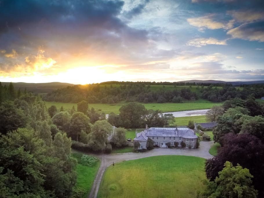 Aerial view of Tomatin House and nearby River Findhorn