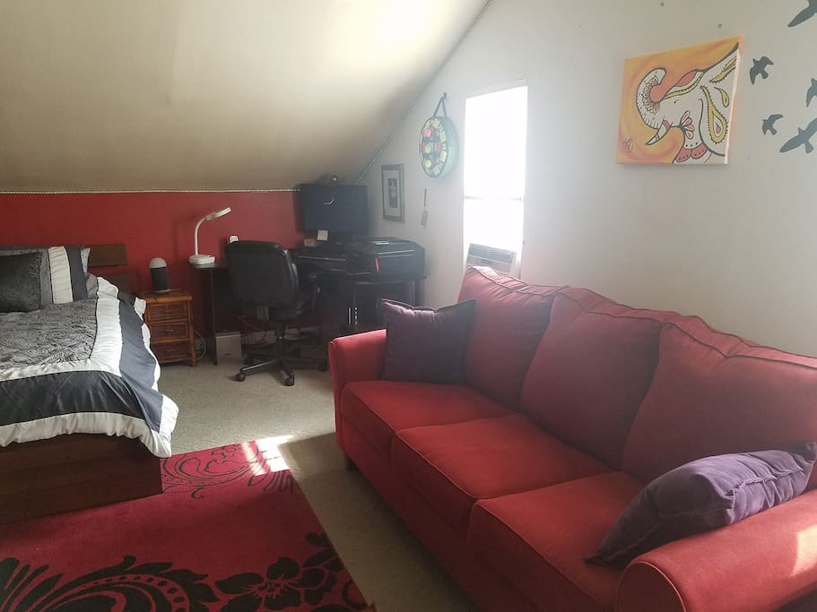 The room also includes a very comfortable pullout full size loveseat for additional seating.