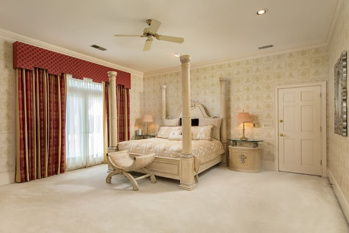 Master Upstairs Suite with King Size Bed and Private Balcony overlooking the Willow Tree and Gardens - Bathroom photo to follow.