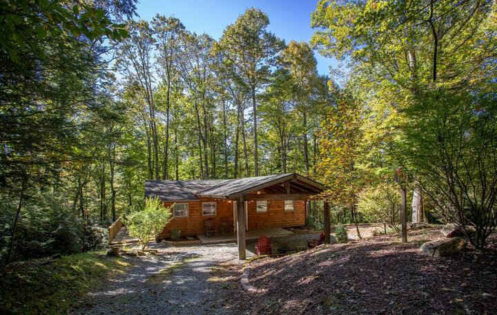 Log Cabin in heart of Boone, King Suite, Firepit, Grill, By Skiing, Pet Friendly