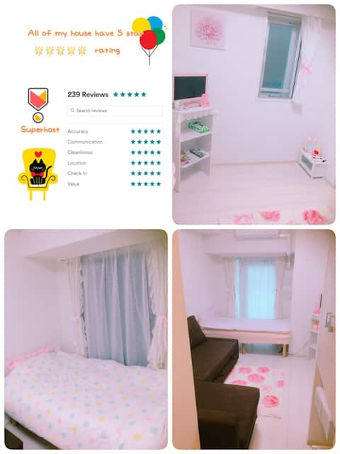 Lovely stay yuni purepink+free2wifi home&pocket :)