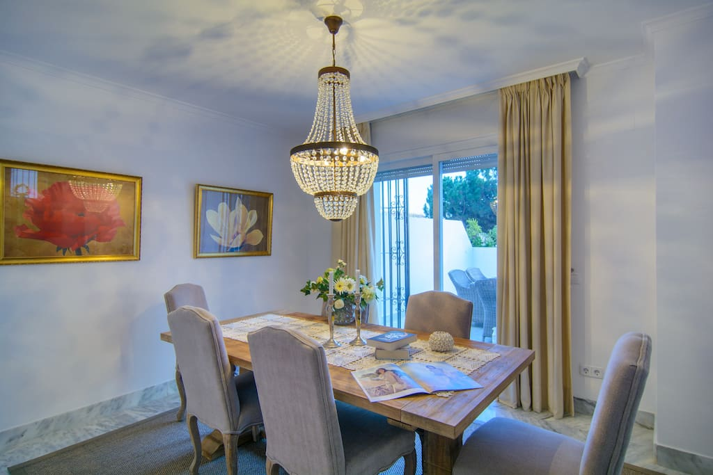 Large dining table for six in dining area