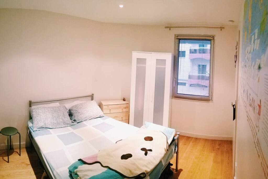 This is the bedroom. You can use that white closet and that wood drawer for your things. :)