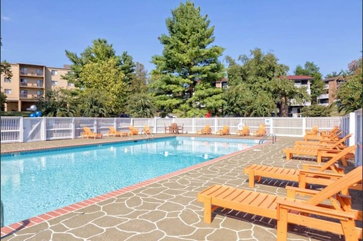 Spacious Flat 2 miles from Downtown! POOl+Parking!