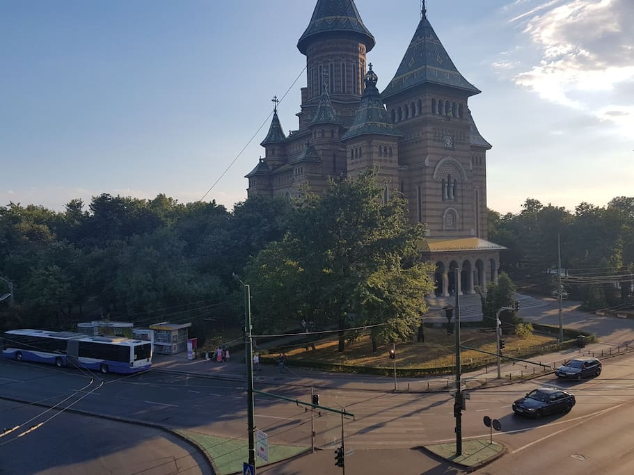 The view of  Mitropolitan Cathedral , the symbol of Timisoara