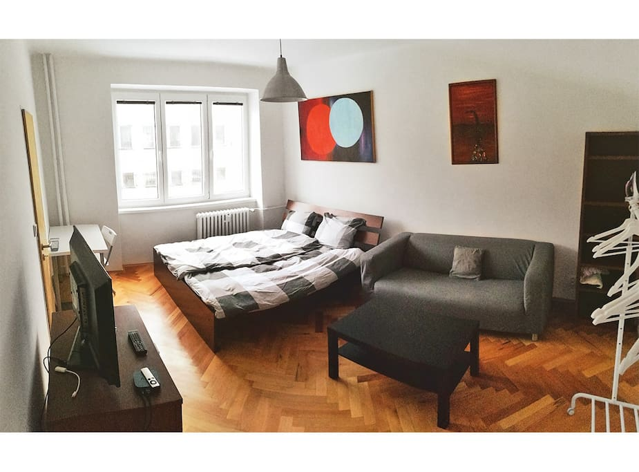 Big spacious modern furnished room with TV and Apple TV. Iron and iron table at disposal.