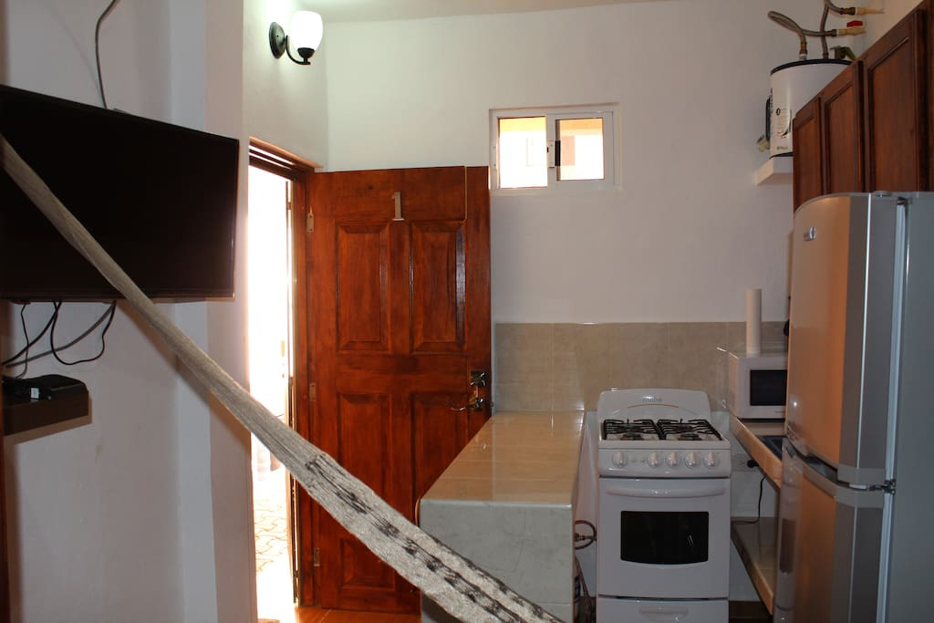 Cable tv with kitchen view.