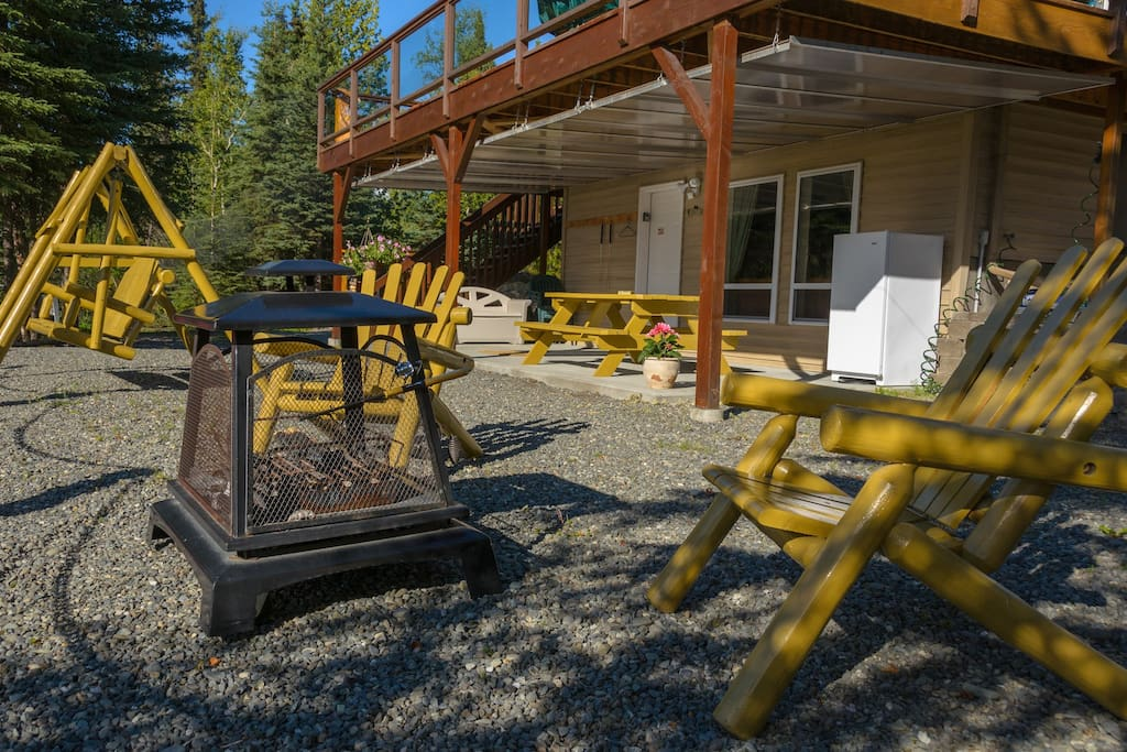 Outdoor furniture with fire pit and freezer for your catch