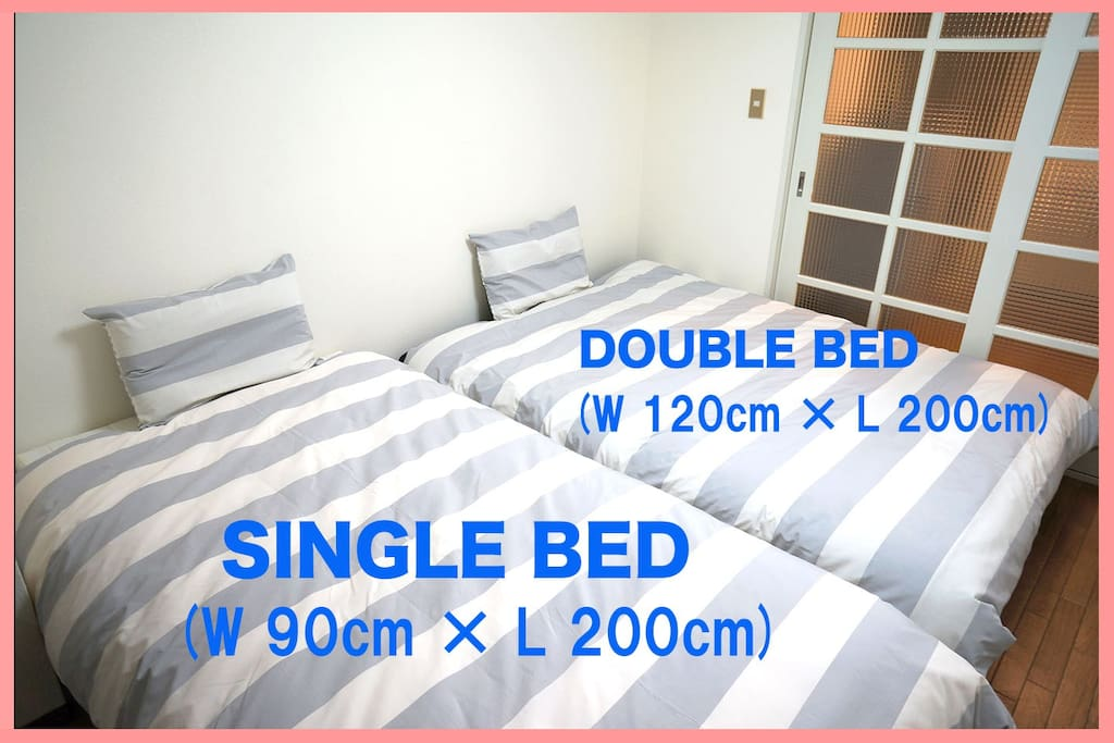 【 BED ROOM 1 】 ・DOUBLE BED (W 120cm × L 200cm) ・SINGLE BED (W 90cm × L 200cm)
