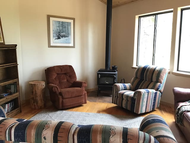 Sitting area with wood burning stove