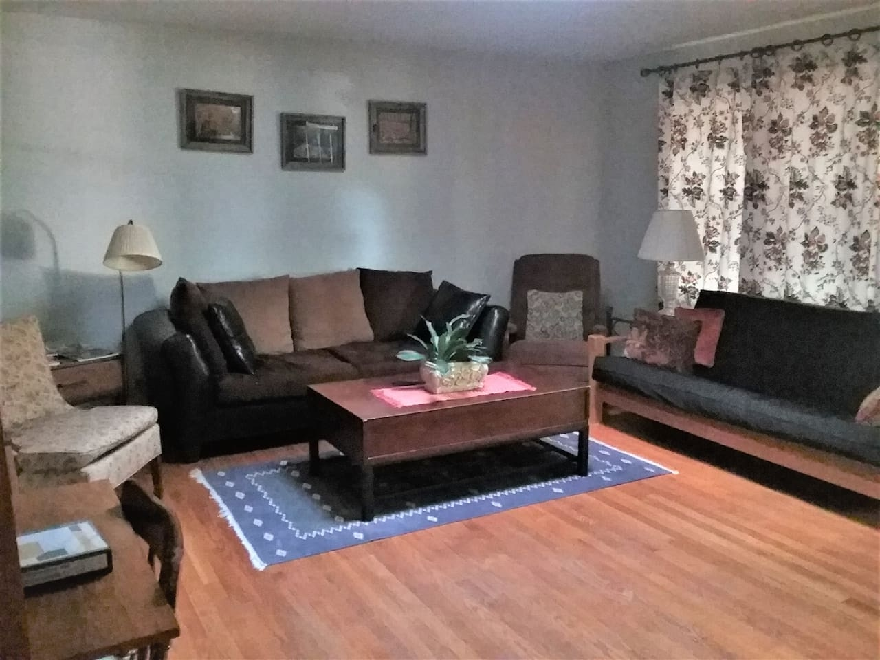 Comfortable living room with a skylight, plenty of seating, desk, television, and fold-out futon