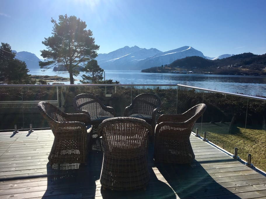 Outdoor seating area with beautiful views right out to the Sunnmørsalps and the Hjørundfjord