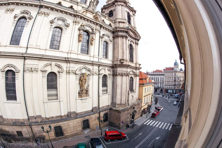 WINDOW VIEW from the apartment on the St. Nicholas Church.