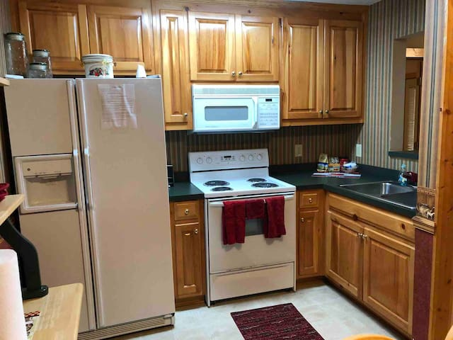 Fully stocked kitchen with full-size refrigerator with ice maker