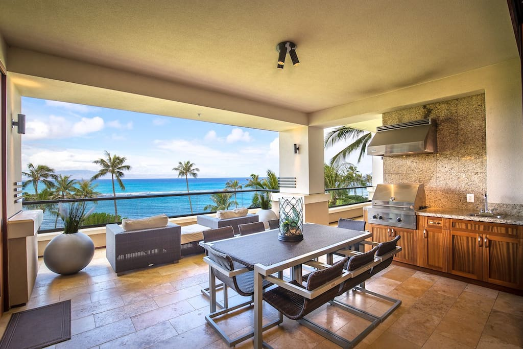 Large outdoor living and dining area with one of a kind ocean views.