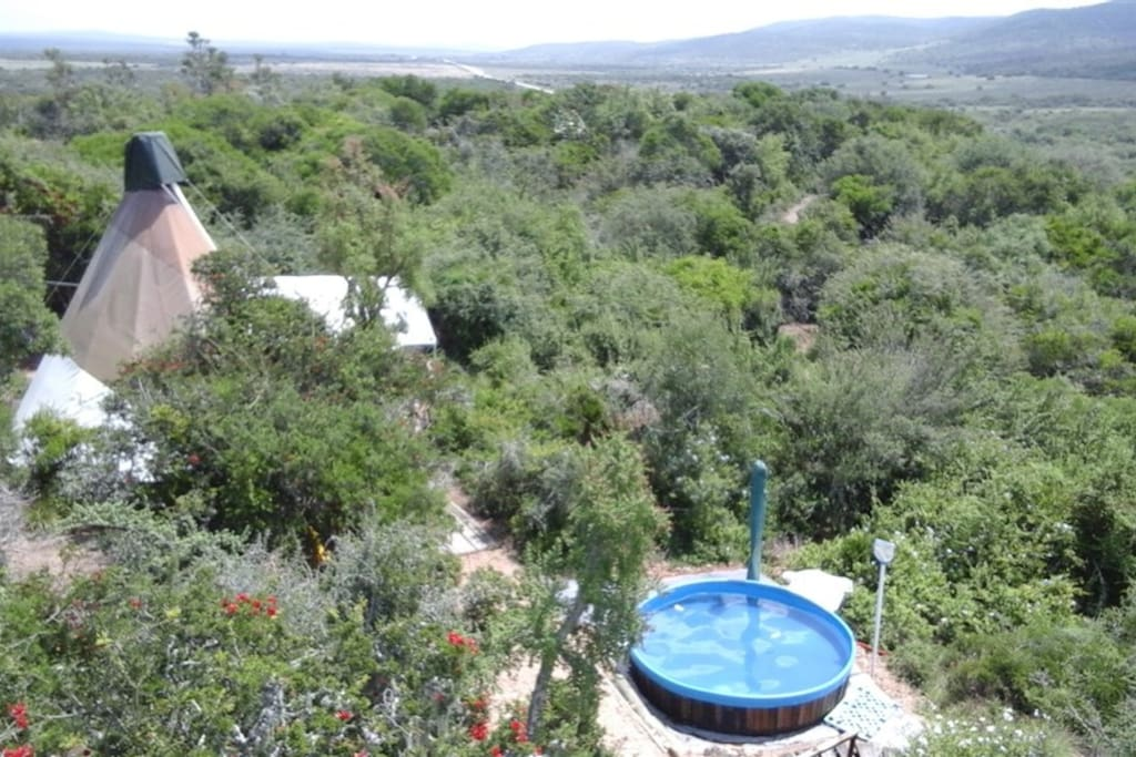 Aerial view of Side Tipi and splash pool