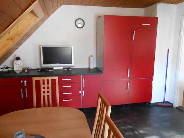 TV und Küchenstauraum (Kühlschrank ganz rechts)