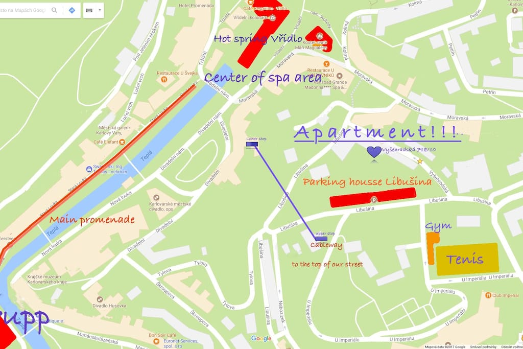 Location of the apartment to the town center with springs, cable car to our hill, parking house, and nearby sports grounds