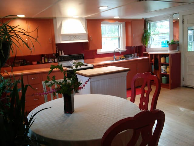 Large eat-in kitchen available for your use; guest shelf in fridge