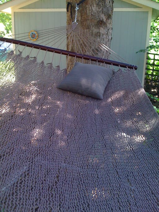 Need a break?  There's a great hammock in the back yard under a 100 year old fir tree.