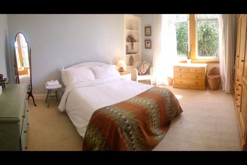 Front double bedroom,  spacious  & peaceful looking straight into the queens park