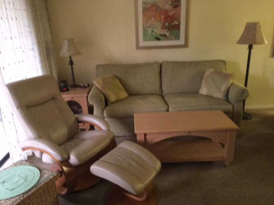 Comfortable living room to relax after a day at the beach. Complete with television.