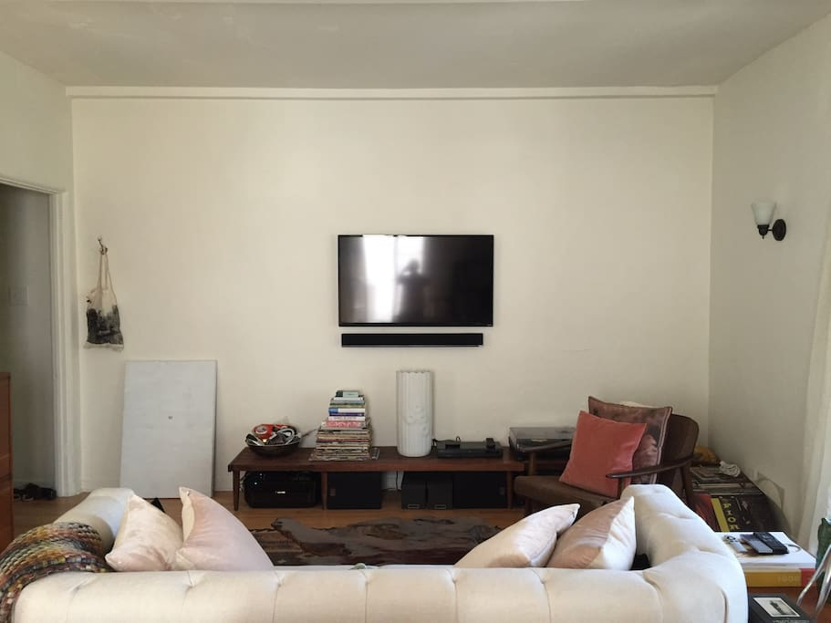 TV with Apple TV and DVD player