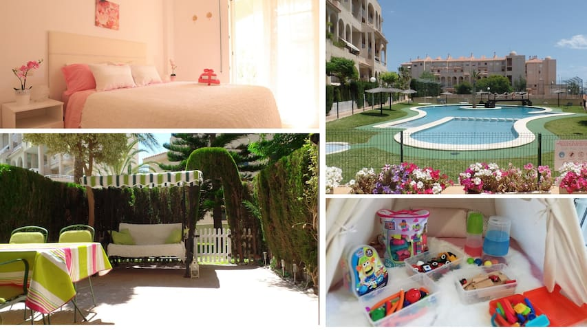 ★ Beach Apt, Babyfriendly, 3 Bdr POOL, AirC, Wifi♡