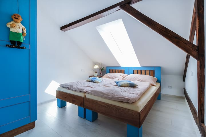 Blue cozy room with double bed