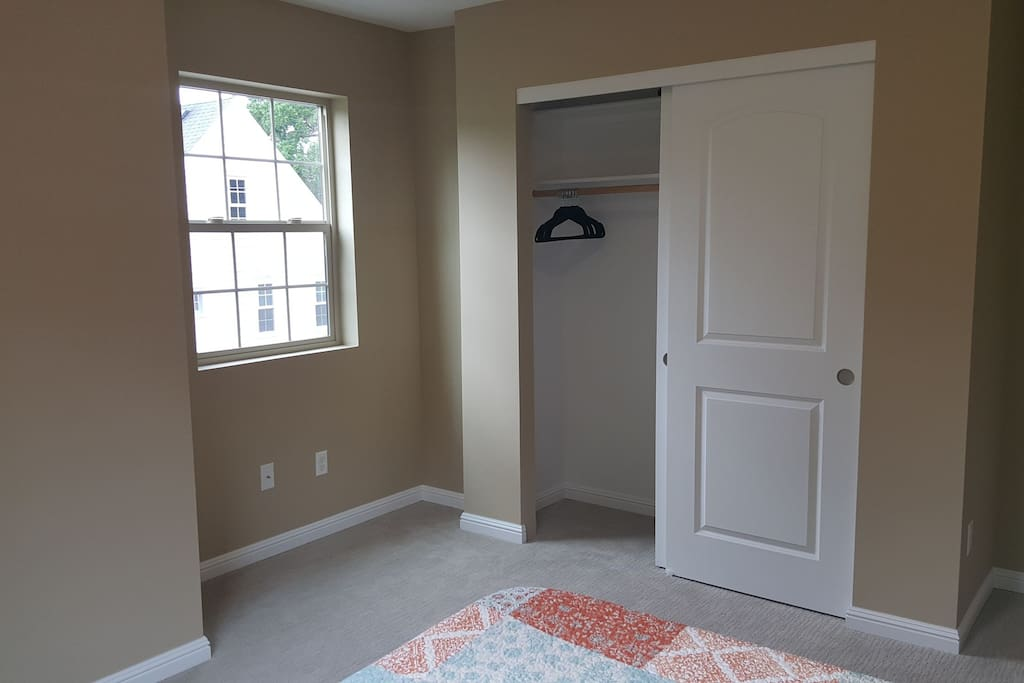 Closet with hangers. Can also set up a desk and chair here if you're traveling for work. Just let us know.