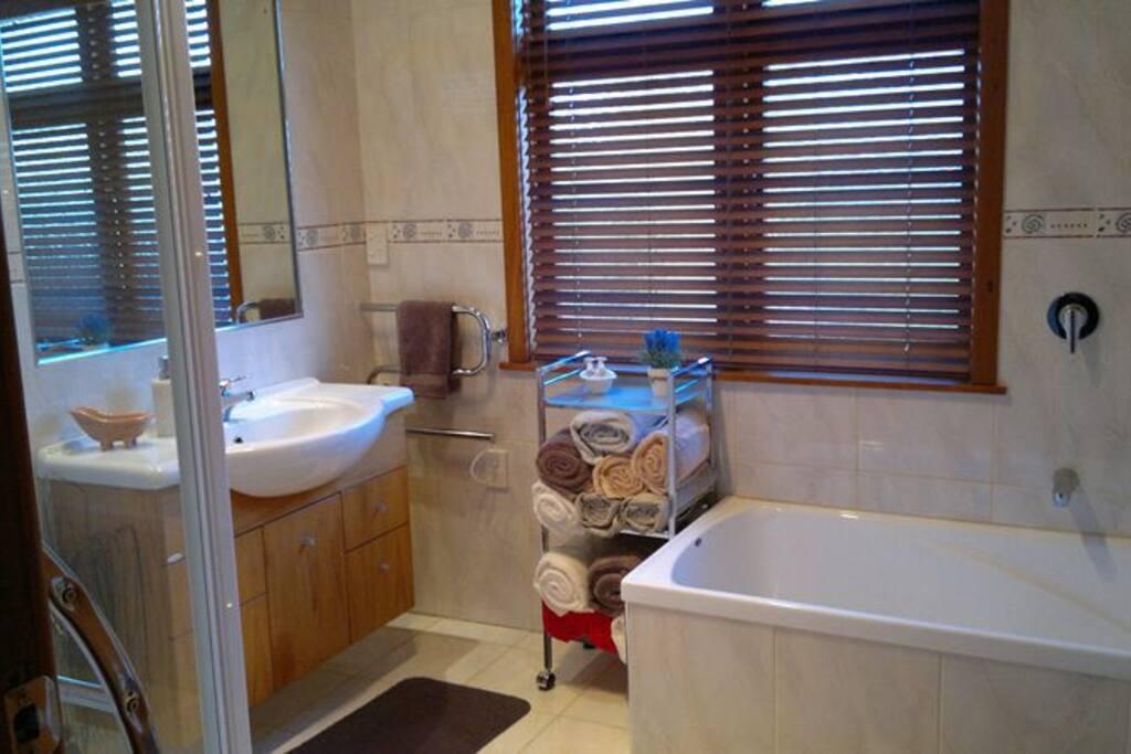 Modern bathroom with bath & separate walk in  shower