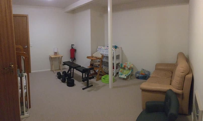 Now spare room becomes little gym room with a lot of baby staff inside